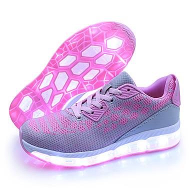 Női Cipő Tüll Ősz / Tél Világító cipők Tornacipők Alacsony Kerek orrú LED Rózsaszín