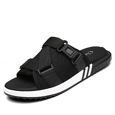 Herrn Schuhe Leinwand Leder Sommer Herbst Komfort Slippers & Flip-Flops Upstream Schuhe für Normal Draussen Kleid Schwarz