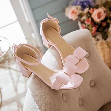 Damen Schuhe PU Sommer Komfort Sandalen Niedriger Absatz Blockabsatz Offene Spitze Für Normal Beige Blau Rosa