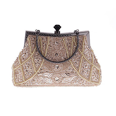 Women's Bags Polyester Evening Bag Rhinestone / Pearls Gray / Purple / Navy Blue