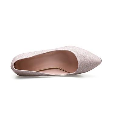 Damen Schuhe PU Frühling Komfort High Heels Stöckelabsatz Spitze Zehe Für Normal Gold Silber