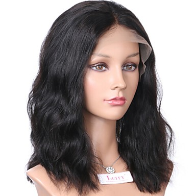 Remy Human Hair Lace Front Wig Brazilian Hair Wavy Natural Wave Wig Bob Haircut Short Bob Middle Part 130% Hair Density with Baby Hair Natural Hairline African American Wig Natural Women's 8-14 Human