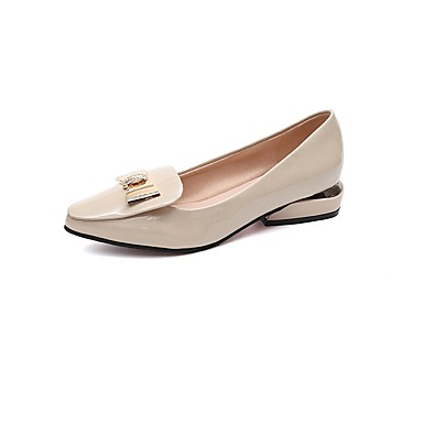 Női Cipő PU Ősz Kényelmes Lapos Lapos Erősített lábujj Csokor mert Ruha Fekete Bézs Piros Mandula