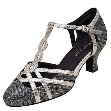 03a247d2a1 Női Modern cipők Háló / Bőrutánzat Szandál / Magassarkúk Csat Személyre  szabott sarok Személyre szabható Dance Shoes Fekete / Ezüst