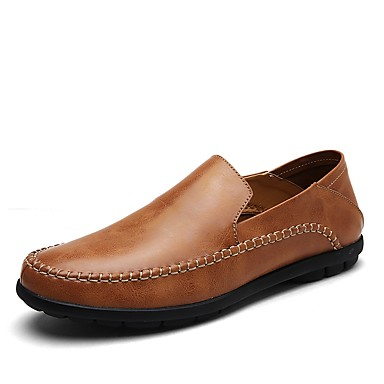 Men's Cowhide Summer / Fall Comfort Loafers & Slip-Ons Walking Shoes Black / Light Brown