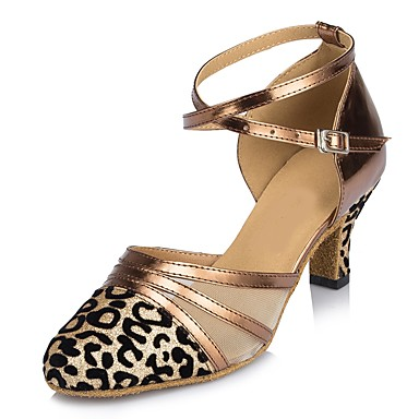 Women's Modern Shoes Sparkling Glitter Sandal Customized Heel Shoes Dance Shoes Heel Bronze / Gray / Red / Indoor a913c8