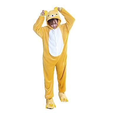 Kigurumi-Pyjamas mit Hausschuhen Bär Pyjamas-Einteiler Kostüm Flanell Cosplay Für Erwachsene Tiernachtwäsche Karikatur Halloween Fest /