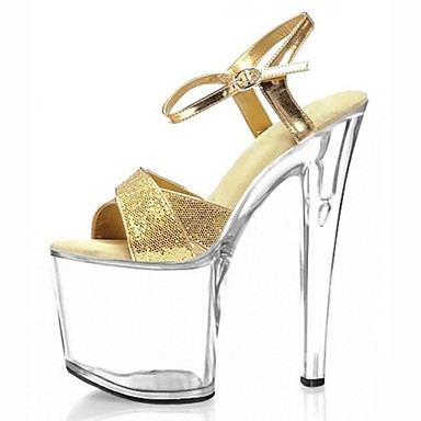 Women's PU(Polyurethane) Summer Formal Shoes Sandals Stiletto Heel Peep Toe Sparkling Glitter / Buckle Gold / Silver / Party & Evening / Party & Evening