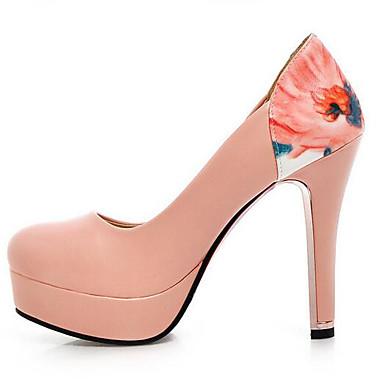 Damen Schuhe PU Frühling Komfort High Heels Für Normal Weiß Schwarz Beige Rosa