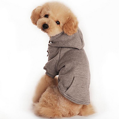 Dog Hoodie / Sweatshirt Dog Clothes Solid Colored Orange / Gray / Red Cotton Costume For Pets Men's / Women's Casual / Daily / Sports