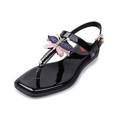 Damen Flache Schuhe Komfort Sommer Künstliche Mikrofaser Polyurethan Normal Weiß Schwarz Flach