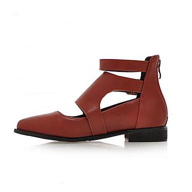 Damen Schuhe PU Frühling Komfort Flache Schuhe Für Normal Schwarz Braun Rot