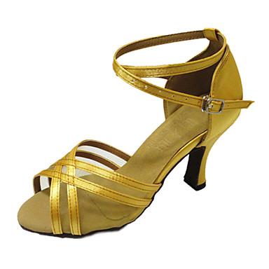 Női Latin cipők Szatén Szandál Cakkos Kubai sarok Személyre szabható Dance Shoes Világossárga / Teljesítmény / Bőr