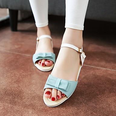 Damen Schuhe PU Sommer Komfort Flache Schuhe Flacher Absatz Offene Spitze Für Normal Hellblau Mandelfarben