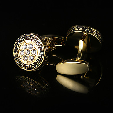 Geometric Golden Cufflinks Gift Boxes & Bags / Fashion Men's Costume Jewelry For