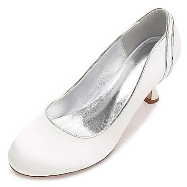 2faa9f49576 Women s Satin Spring   Summer Comfort   Basic Pump Wedding Shoes Kitten Heel    Low Heel   Stiletto Heel Round Toe Ruched Blue   Champagne   Ivory    Party   ...