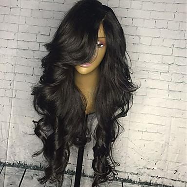 Emberi haj Csipke eleje Paróka Brazil haj Hullámos haj 130% Sűrűség Baba hajjal glueless Természetes hajszálvonal Női Természet fekete