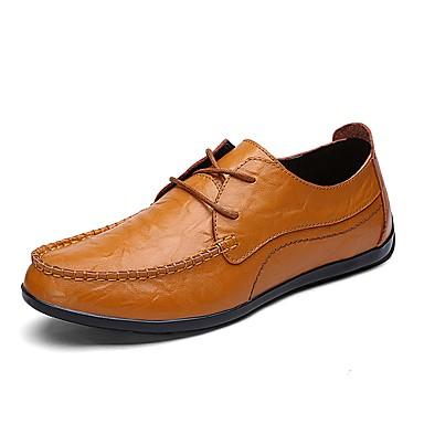Men's Cowhide Spring / Summer / Fall Comfort Sneakers Walking Shoes Black / Brown