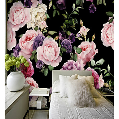 3D Flower/Floral Classic Home Decoration Pastoral Style Modern/Contemporary Wall Covering, Canvas Material Adhesive required Mural, Room
