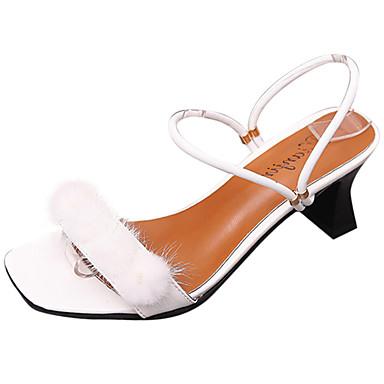 Damen Sandalen Komfort Pumps PU Frühling Sommer Kleid Party & Festivität Feder Schnalle Blockabsatz Weiß Schwarz 5 - 7 cm