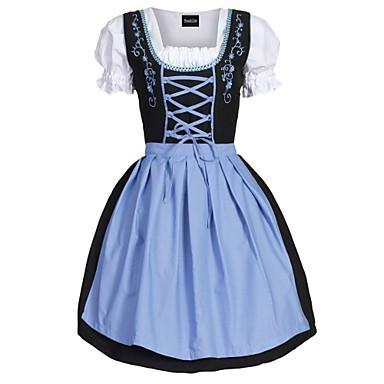 Kasım Festivali üstü dar altı geniş elbise Trachtenkleider Kadın's Elbise Önlük Bavyera Kostüm Yeşil Mavi Pembe