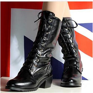 Damen Schuhe PU Herbst Komfort Stiefel Für Normal Weiß Schwarz