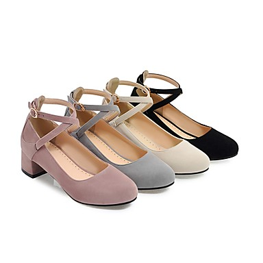 para con Vestido Hebilla Suelas Casual Dedo Mujer Cuadrado Verano Beige Tacón Semicuero Otoño Negro Zapatos Confort redondo Tacones 06094775 luz xF6pq4A6