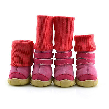 Dog Boots / Shoes Casual / Daily / Waterproof / Keep Warm Solid Colored Black / Brown / Pink For Pets