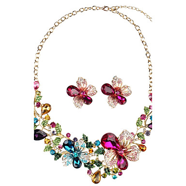 Women's Synthetic Diamond Geometric Jewelry Set - Floral / Botanicals, Flower Personalized, Luxury, Vintage Include Stud Earrings Necklace Rainbow For Party Gift Daily