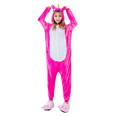 Adults' Kigurumi Pajamas Unicorn / Horse Onesie Pajamas Costume Flannelette Cosplay For Animal Sleepwear Cartoon Halloween Festival / Holiday / Christmas