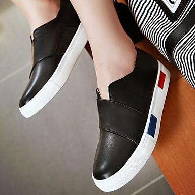 Damen Schuhe PU Herbst Komfort Flache Schuhe Flacher Absatz Runde Zehe Für Normal Weiß Schwarz Silber
