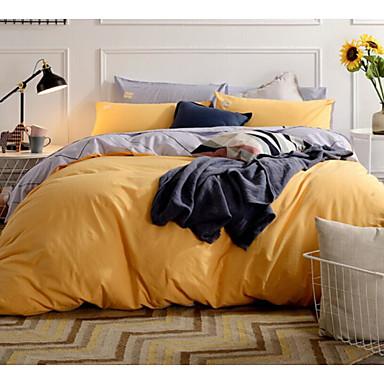 Solide 4 Stück Baumwolle Druck Baumwolle 1 Stk. Bettdeckenbezug 2 Stk. Kissenbezüge 1 Stk. Betttuch