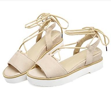 Damen Schuhe Stoff Sommer Gladiator Sandalen Flacher Absatz Für Normal Schwarz Beige Grau Gelb