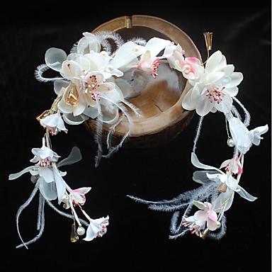 Chiffon Feder Stoff Seide net Stirnbänder Blumen Kopfschmuck eleganten Stil