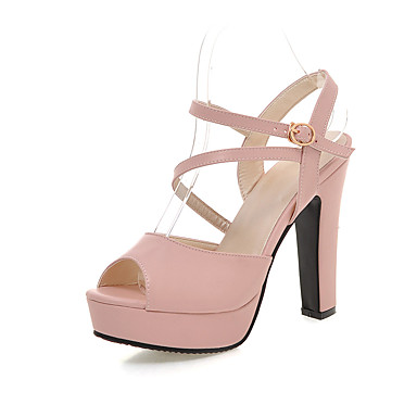 Damen Schuhe PU Sommer Pumps Sandalen Blockabsatz Peep Toe Schnalle Für Hochzeit Party & Festivität Kleid Weiß Schwarz Blau Rosa