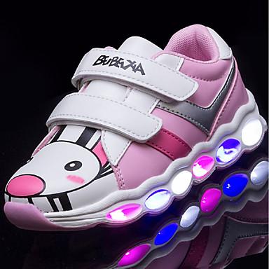 Mädchen Schuhe Kunstleder Herbst Winter Leuchtende Sohlen Leuchtende LED-Schuhe Sneakers LED Für Normal Grün Rosa und Weiss Schwarz/weiss