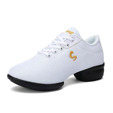 Női Tánccipők Háló Sportcipő Vaskosabb sarok Dance Shoes Fehér / Fekete / Piros