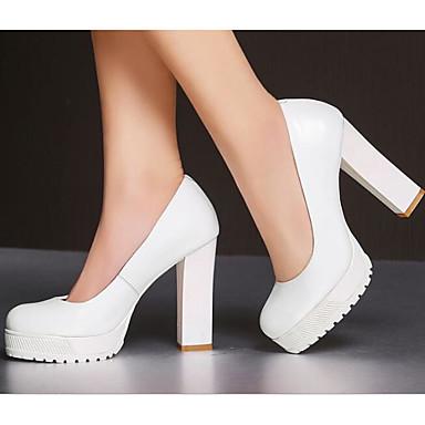 Damen Schuhe Echtes Leder PU Herbst Komfort Pumps High Heels Für Normal Weiß Schwarz