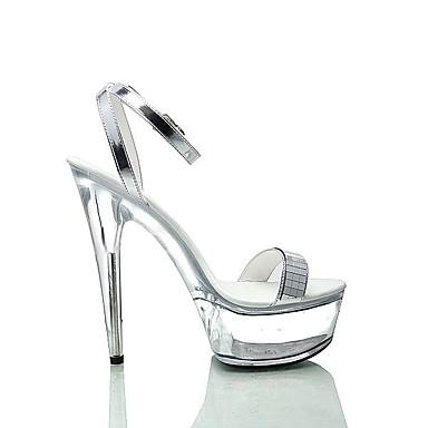 Bout Talon Paillette Eté Sandales Paillettes ouvert Aiguille Chaussures Boucle formelles Argent 06153053 Chaussures Femme Polyuréthane z14Rwqn