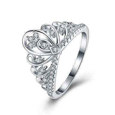 Női Strassz Ezüst Crown Shape - Crown Shape Személyre szabott Ezüst Gyűrű Kompatibilitás Parti / Eljegyzés / Ajándék