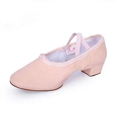 Damen Schuhe für den lateinamerikanischen Tanz Leder Gespaltene Sole Blockabsatz Tanzschuhe Schwarz / Rot / Rosa / Praxis