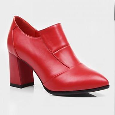 Damen High Heels Komfort Leder Sommer Normal Blockabsatz Schwarz Rot 7,5 - 9,5 cm