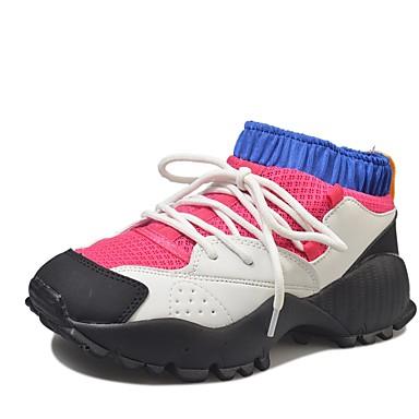 Damen Schuhe PU Herbst Komfort formale Schuhe Sportschuhe Walking Flacher Absatz Runde Zehe Schnürsenkel für Normal Kleid Party &