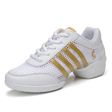 Női Tánccipők Tüll / Bőr Sportcipő Szabadtéri Egyoldalú üres Lapos Személyre szabható Dance Shoes Sárga-Fehér