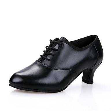 Női Modern cipők Vászon / Bőr Szandál Kubai sarok Dance Shoes Fekete / Professzionális