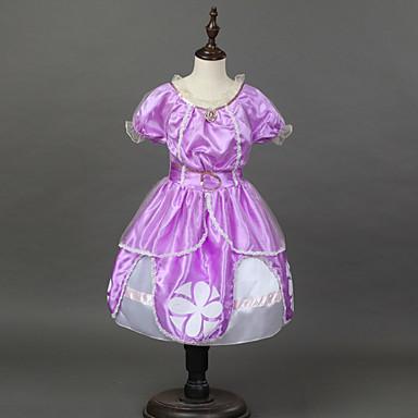 لفتاة فستان سادة طباعة كارتون قطن أكريليك خريف كل الفصول كم قصير