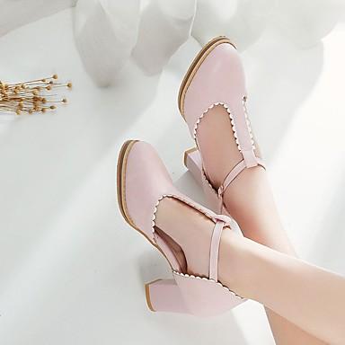Damen Schuhe PU Frühling Sommer Komfort High Heels Blockabsatz Runde Zehe Für Normal Weiß Blau Rosa