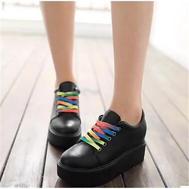 Damen Schuhe PU Frühling Herbst Komfort High Heels Für Normal Weiß Schwarz