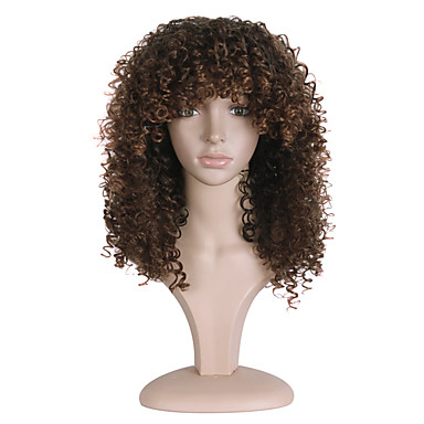 Synthetic Wig Curly Synthetic Hair African American Wig Brown Wig Women's Long Capless Brown