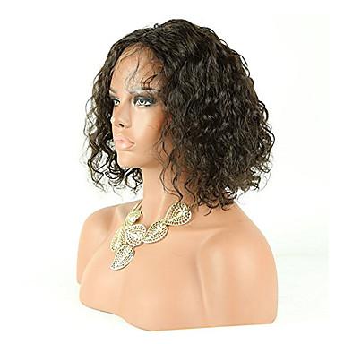 Emberi haj Csipke Paróka Göndör Hullámos 130% Sűrűség 100% kézi csomózású Afro-amerikai paróka Természetes hajszálvonal Rövid Közepes
